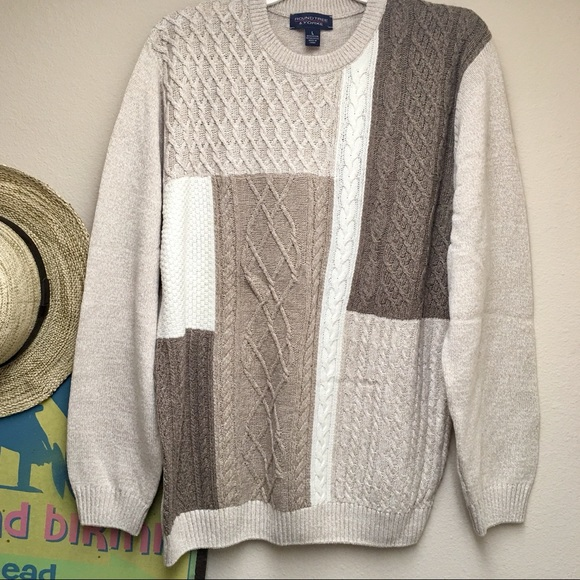 ROUNDTREE & YORKE Large Crewneck Brown Tan Sweater